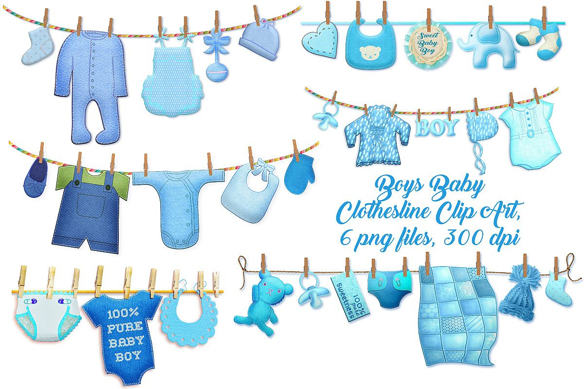 Baby Boy Clothes Lines Clip Art.