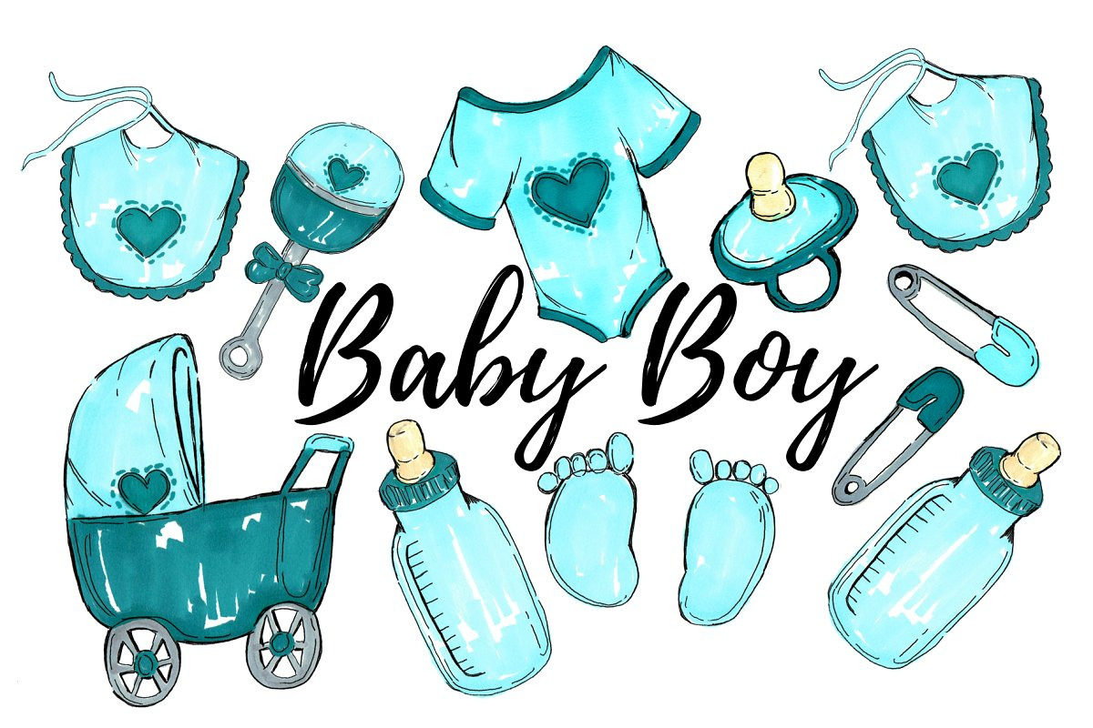 Watercolor Baby Boy Clipart.