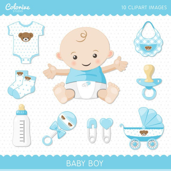 Baby Boy clipart pack, cute baby clip art set, png illustration (Instant  Download).