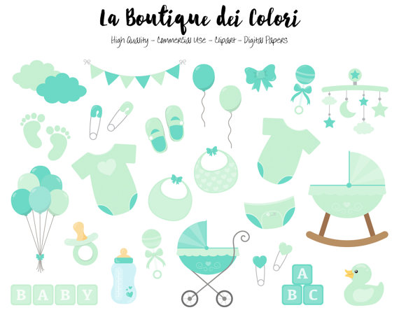 Mint Baby Shower Clipart, Cute Graphics PNG, Scrapbook.