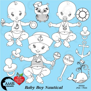 Baby Boy Stamps Clipart, Baby Boy Clip Art Outlines, AMB.