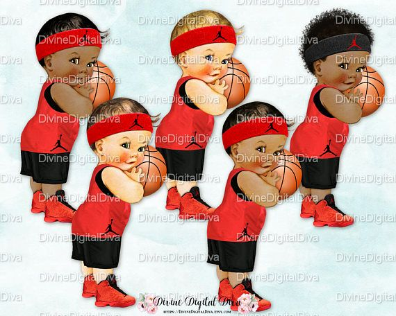 Basketball Player Black & Red Uniform Shorts Jersey Sneakers.