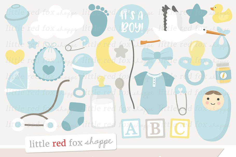 New Baby Boy Clipart ~ Illustrations ~ Creative Market.