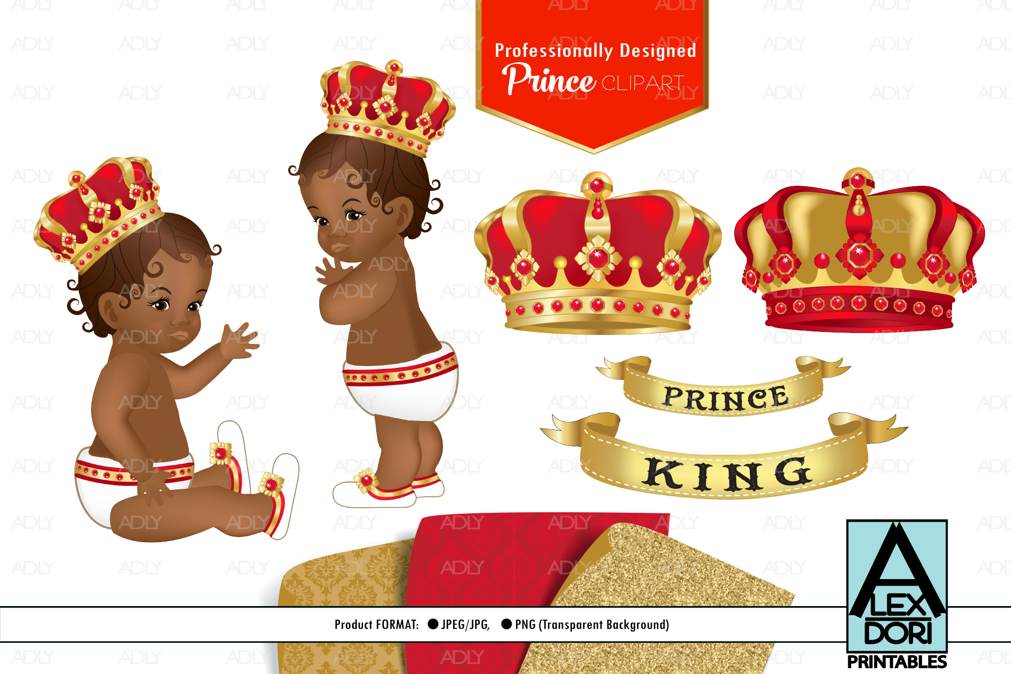 Red Gold Baby Boy Prince PNG, Clipart set, background.