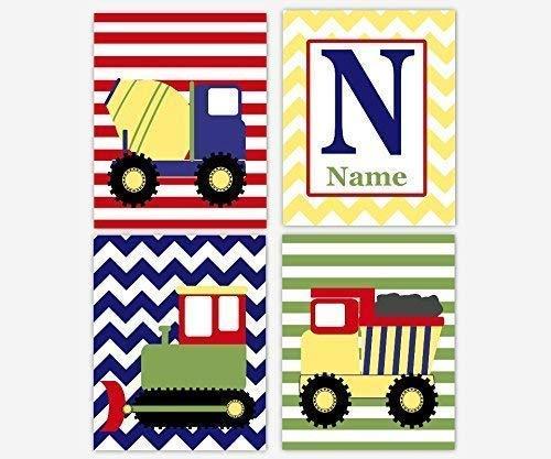 Amazon.com: Baby Boy Nursery Wall Art Construction Trucks.