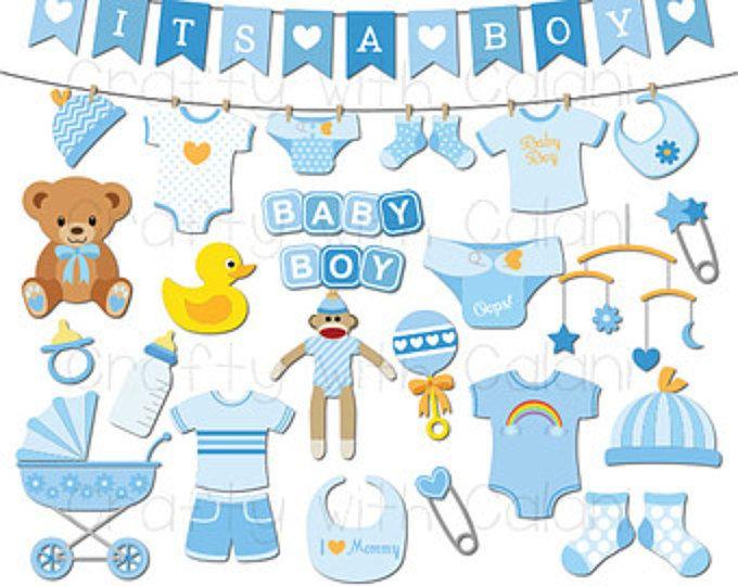 Baby Boy Clipart, Boy Baby Shower Digital clip art set.