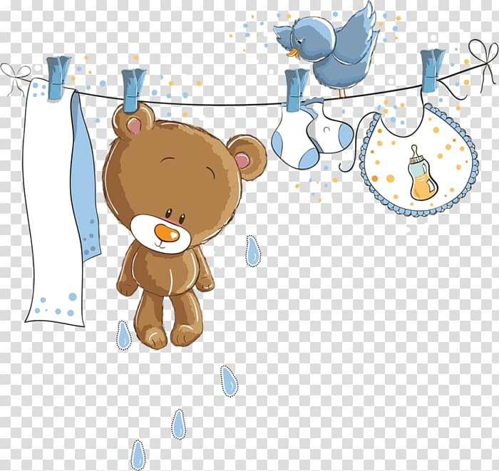 Wedding invitation Baby shower Paper, baby boy, brown bear.