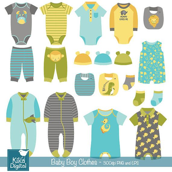 Boy Baby Clothes clip art baby clothing baby boy by DigiKika.