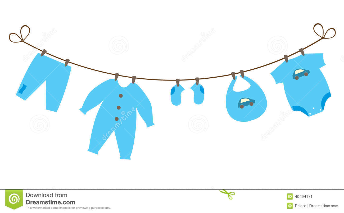 Baby Boy Clothesline Clipart.