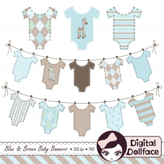 Baby Clothes Banner Clipart, Baby Boy Clip Art, Bunting.