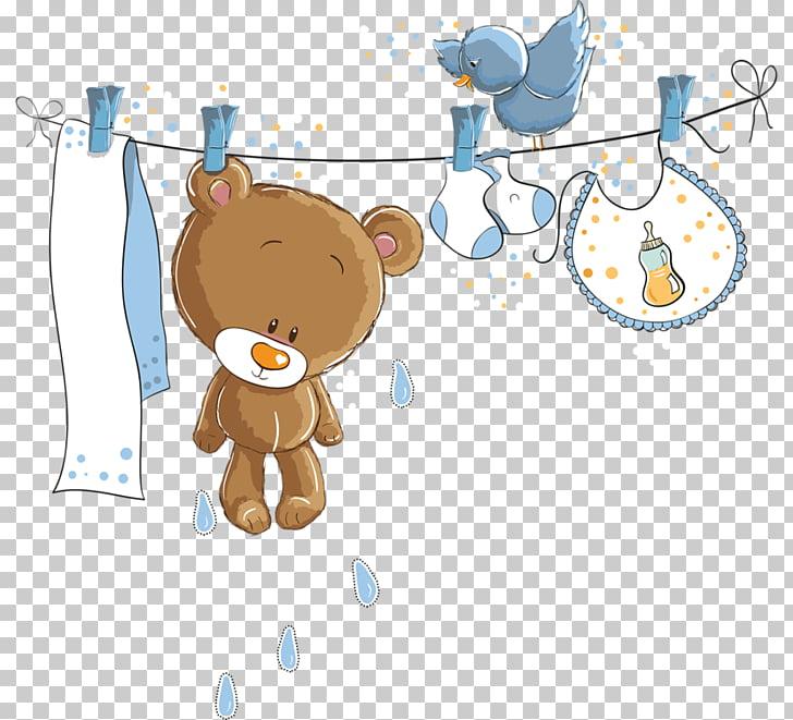 Wedding invitation Baby shower Paper, baby boy, brown bear.