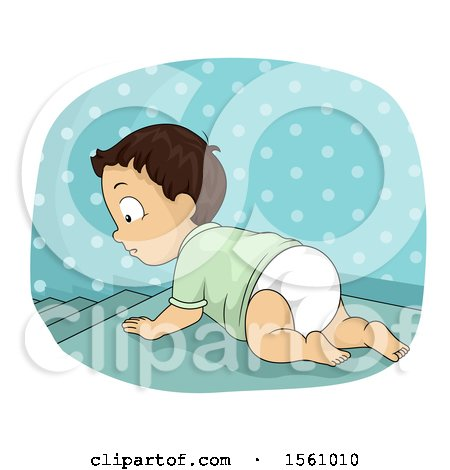 Clipart of a Baby Boy Crawling Towards Stairs.