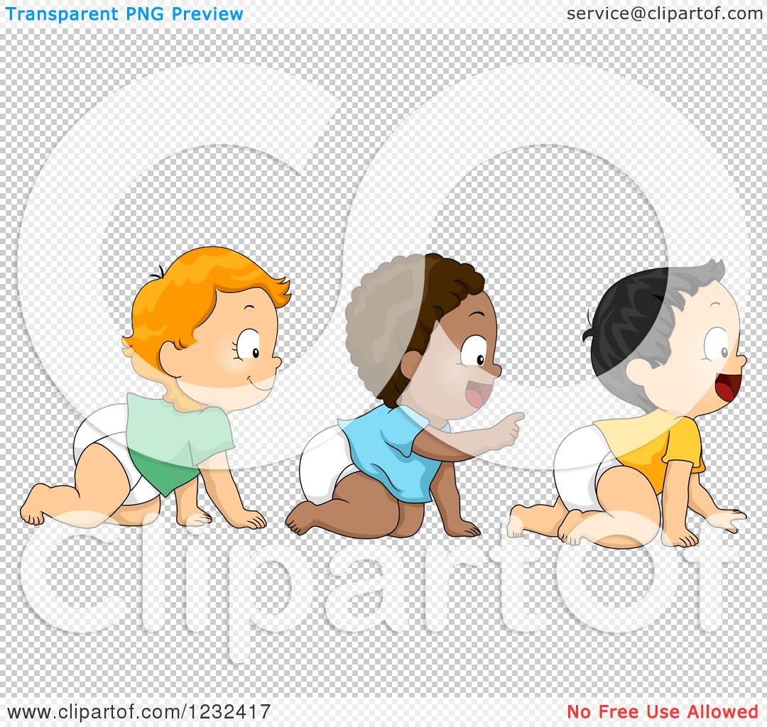Clipart of Diverse Baby Boys Crawling in Line.