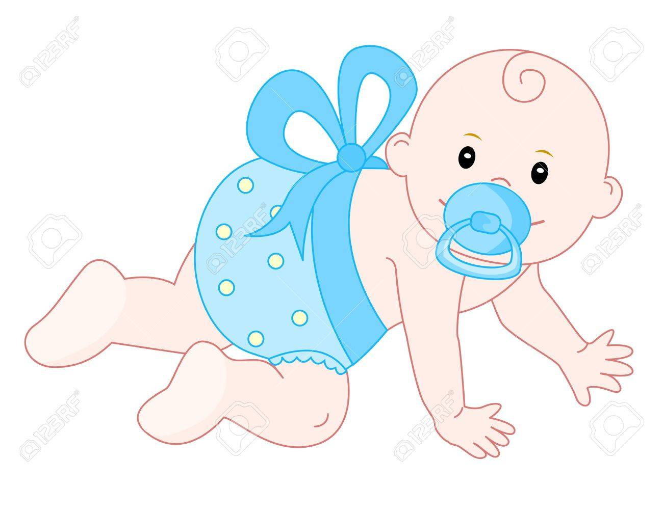 Sweet baby boy crawling, isolated on white background.