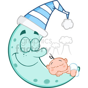 6982 Royalty Free RF Clipart Illustration Cute Baby Boy Sleeps On Blue Moon  Cartoon Characters clipart. Royalty.