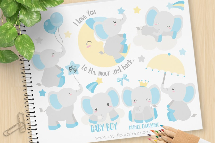 Baby Boy Elephants Clipart + SVG.
