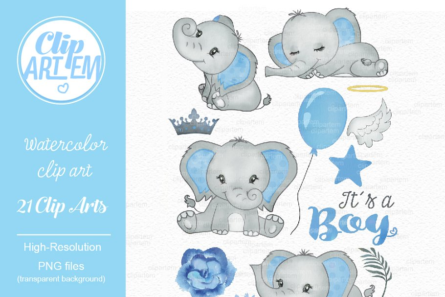 Baby blue elephant its a boy clipart ~ Illustrations.