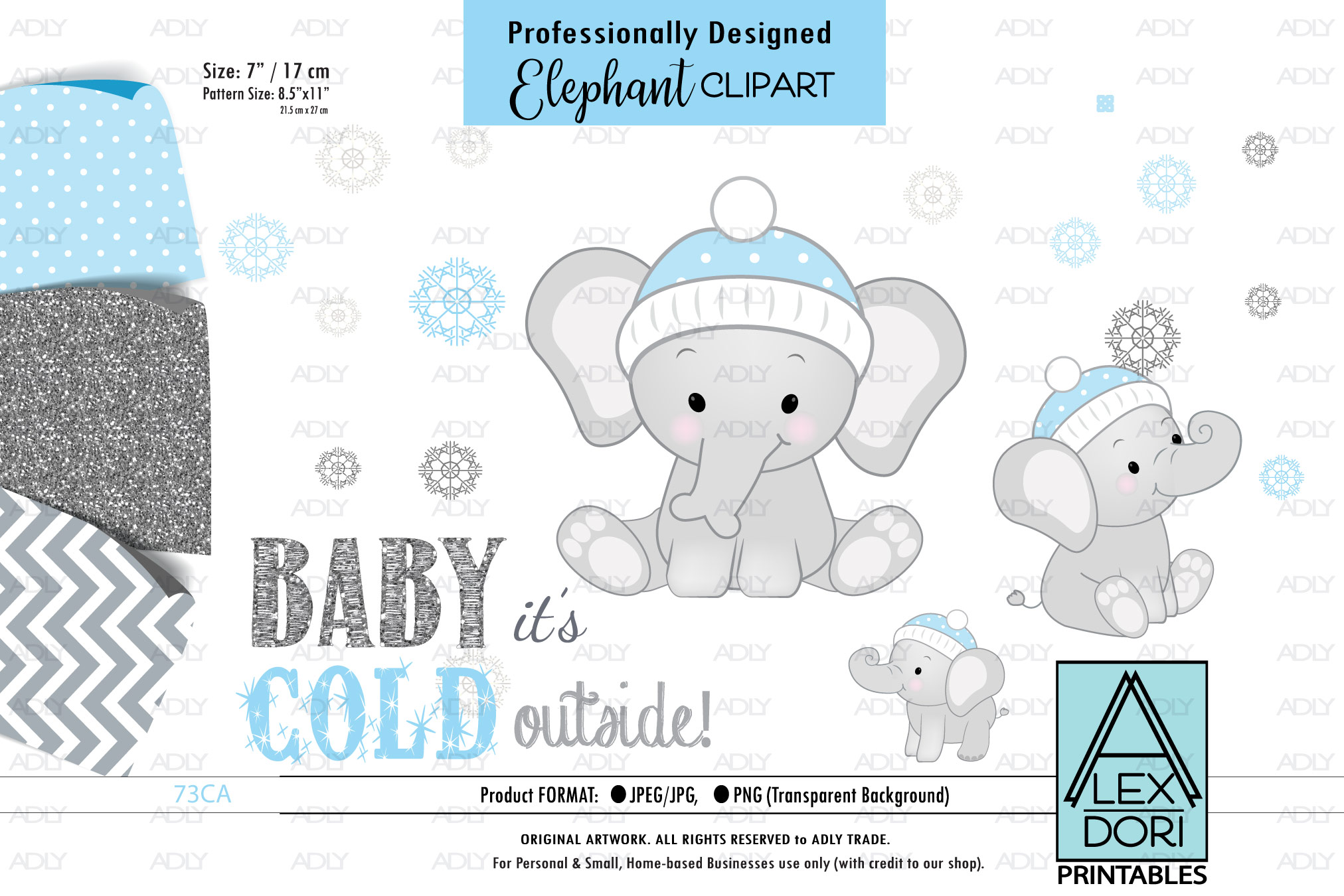 Winter BAbay Elephant, Baby Boy Shower PNG, ClipArt.