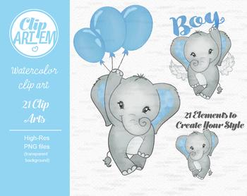 Blue gray its a boy elephant clipart crown star baby blue clipart 7da.
