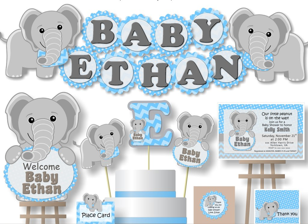 Blue Boy Elephant Baby Shower Decorations.