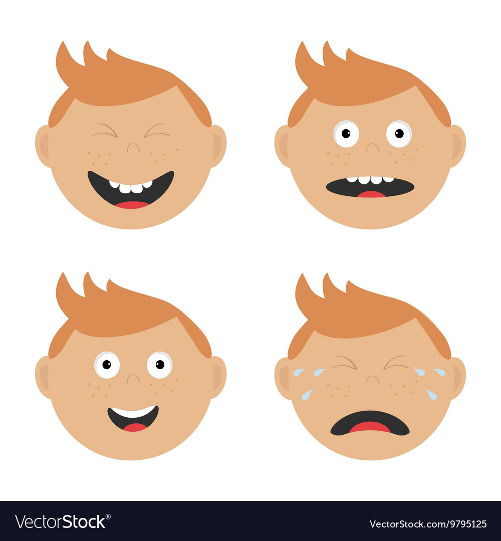 Baby boy face set with different emotions Crying.