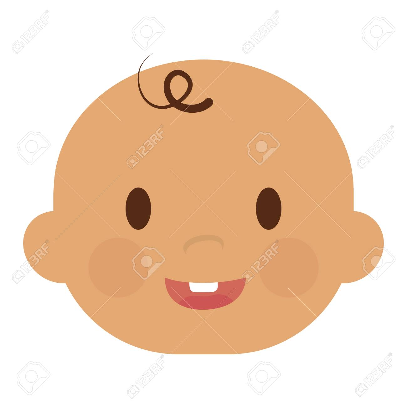 cute baby boy face, cartoon icon over white background. colorful...