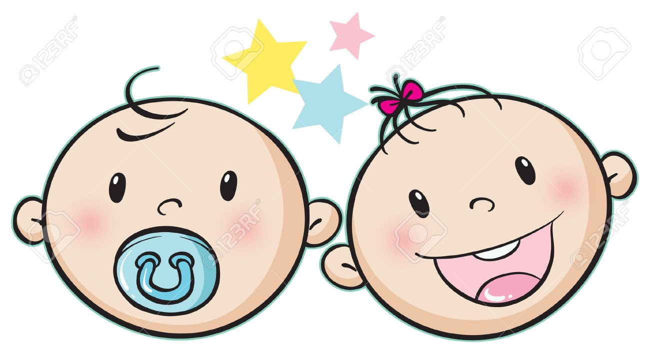 illustration of a baby faces on a white background.