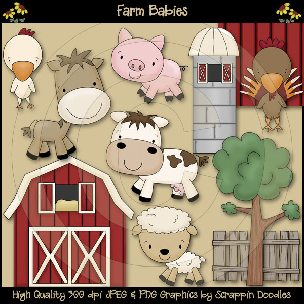 Farm Babies Clip Art Download Scrappin Doodles $3.50.