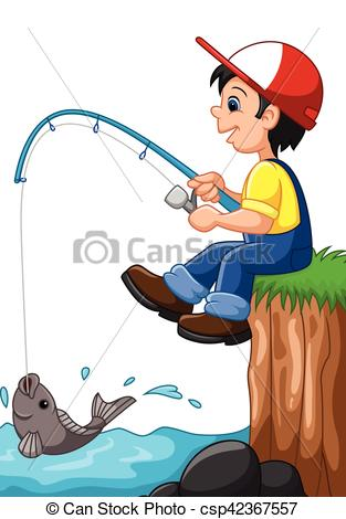 Boy Fishing Clipart.