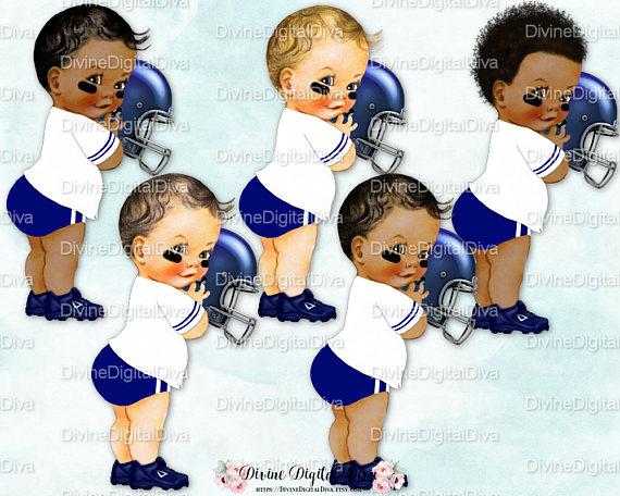 Little Prince Football Player Jersey Helmet Cleats Dark Blue & White.