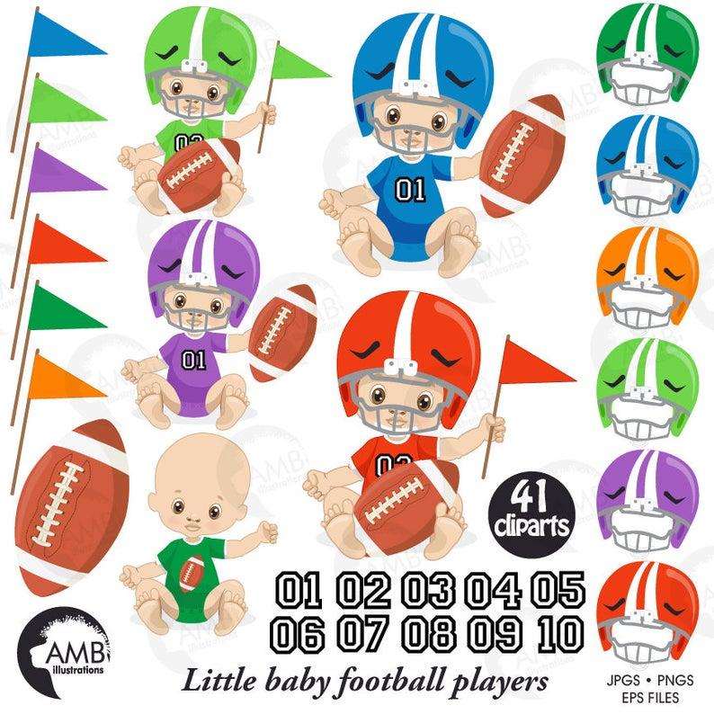 Baby boy clip art, baby boy football player clipart, football baby AMB.