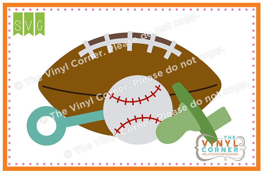 Applique Corner Baby Boy Items: Football, Pacifier, Baseball, Rattle.
