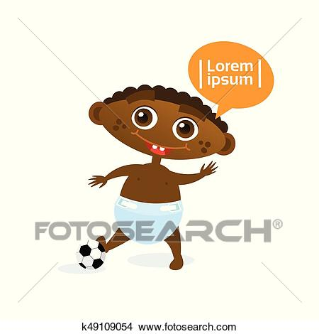 Cute Baby Boy African American With Football Ball Toddler Happy Cartoon  Infant In Diaper Clipart.