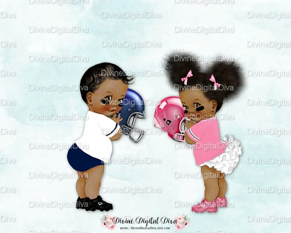 Vintage Baby Football Players Blue Pink.