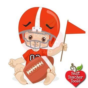 Baby Boy Clipart, Nursery Clipart, Football Clipart, Sports Clip Art.