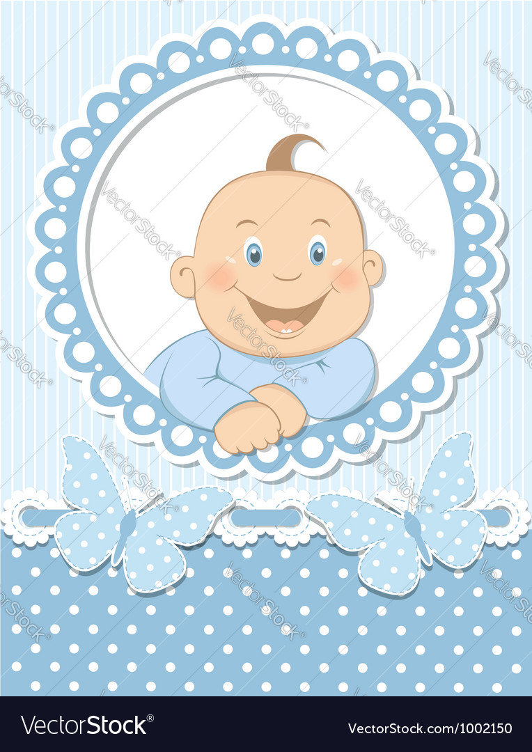 Happy baby boy scrapbook blue frame.