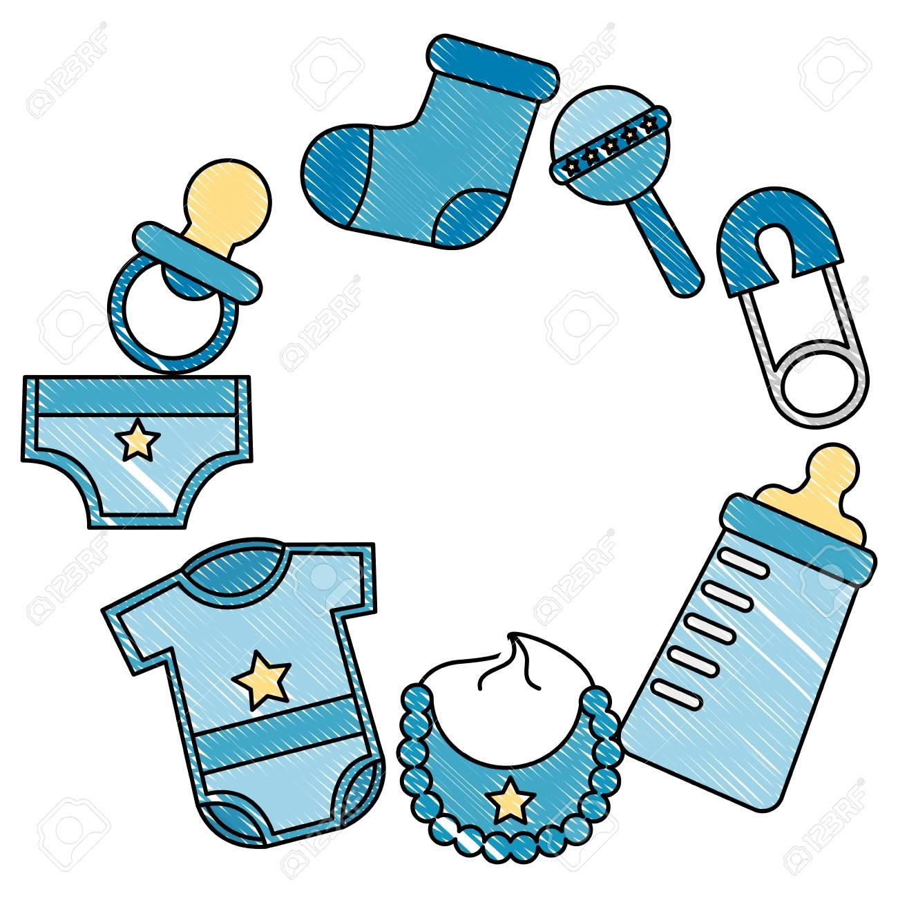 baby shower newborn boy gifts accessories vector illustration...