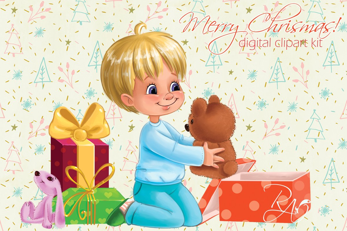Cute boy gifts Christmas clipart.