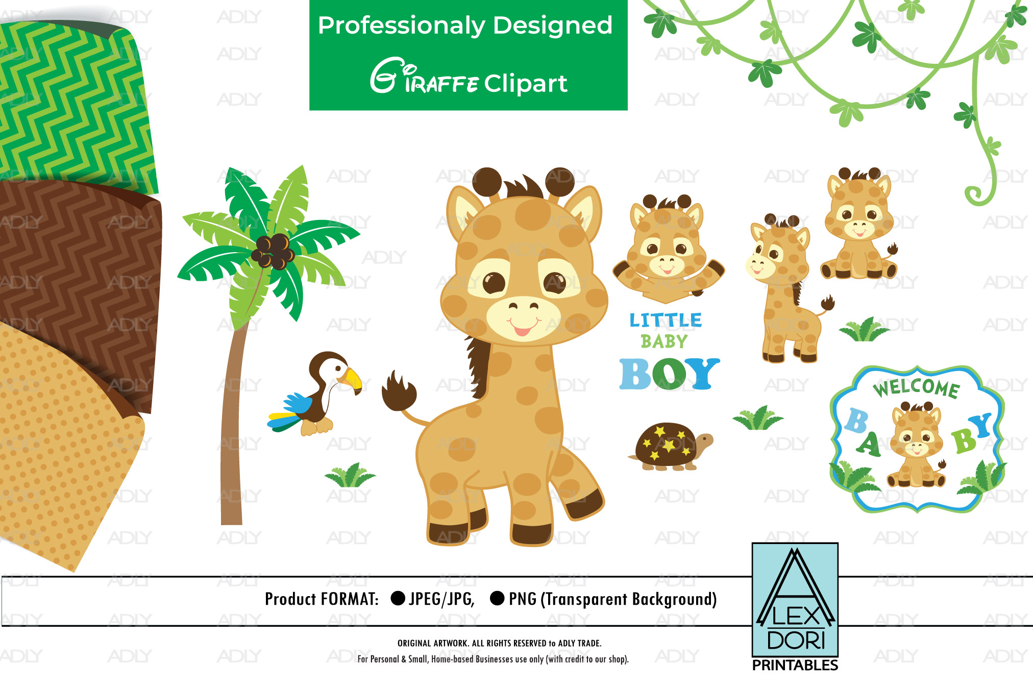 Giraffe PNG, Baby Boy Party, Animal PNG, Clipart.