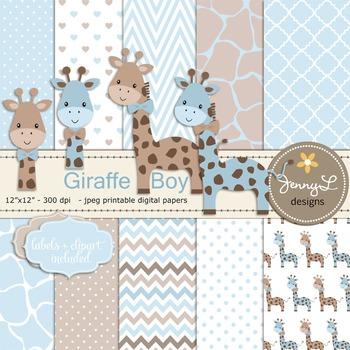 Giraffe Baby Boy Digital Papers and Giraffe Cliparts.
