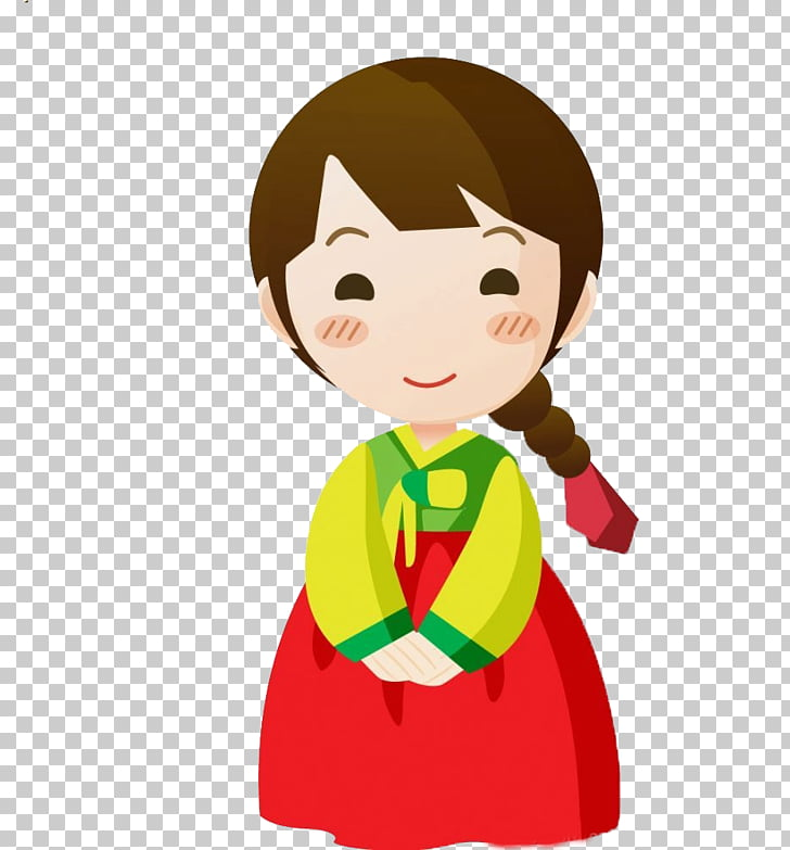South Korea Cartoon Child, Cute girl, woman wearing red and.