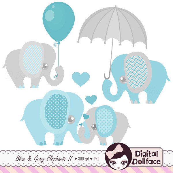 Baby elephant with heart clipart.