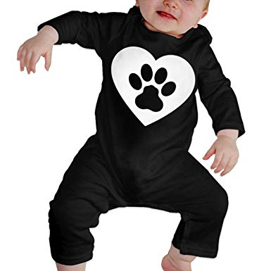 Amazon.com: Toddler Baby Boy Girl Coverall Dog Paw Heart.