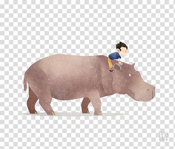 Hippopotamus Rhinoceros Paper Printing Illustration, Boy.