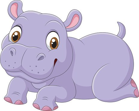 Cute baby hippo isolated on white background Clipart Image.