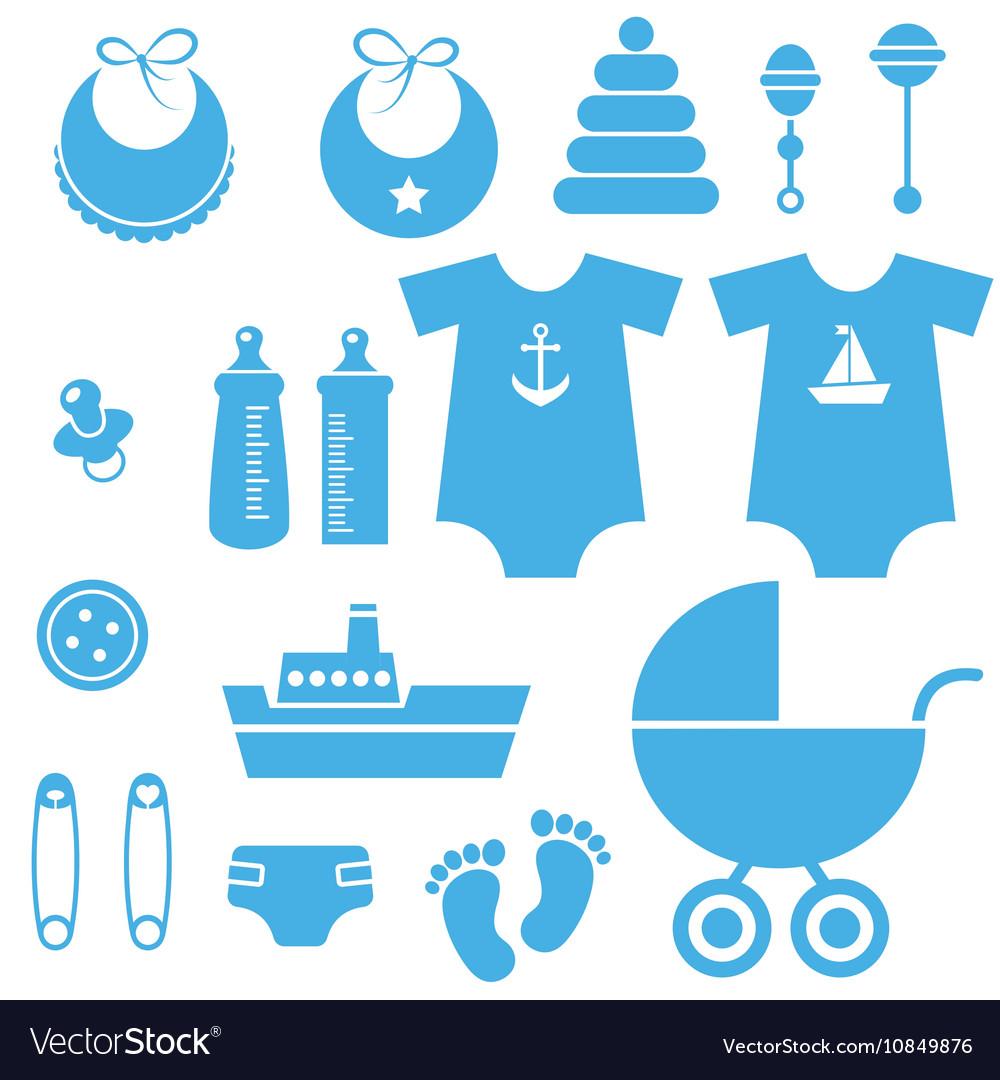 Set of baby boy elements icons.