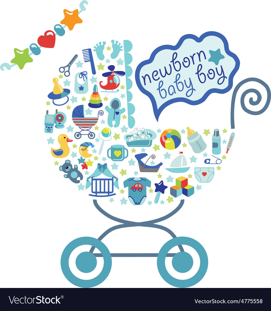 Newborn Baby boy icons in form of carriage.