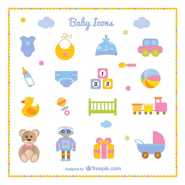 Baby Boy Set of Icons Free Vector.