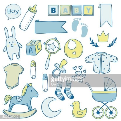 Newborn baby boy clip art with cute icons Clipart Image.