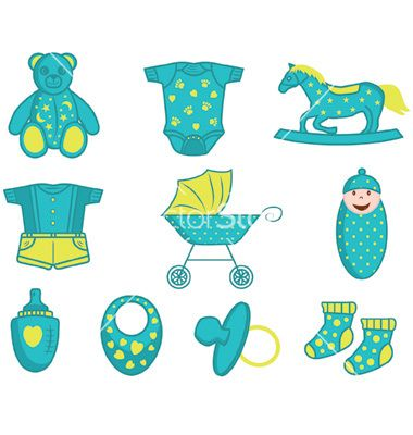 Baby boy icons and elements in vector.